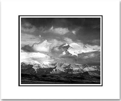 "MOON & MOUNT MCKINLEY, DENALI NAT'L PARK, AK   Large Ansel Adams Matted Reproduction (16"" x 20"")"