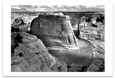 CANYON DE CHELLY FROM WHITE HOUSE OVERLOOK,  CANYON DE CHELLY NATIONAL MONUMENT, AZ 1942 - ANSEL ADAMS NOTECARD