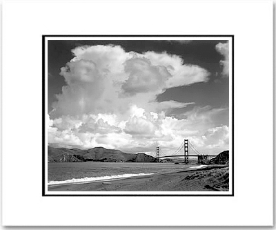 "ANSEL ADAMS - GOLDEN GATE BRIDGE FROM BAKER BEACH, SAN FRANCISCO, CA  Large Ansel Adams Matted Reproduction (16"" x 20"")"