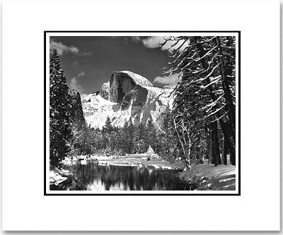 ANSEL ADAMS - HALF DOME, MERCED RIVER, WINTER, YOSEMITE - SMALL MATTED REPRO
