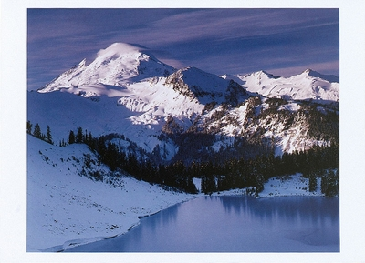 WINTER ON ICEBERG LAKE AND MOUNT BAKER, WA