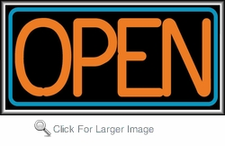 Open Orange/Blue Lightbox Sign