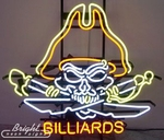 Billiards Pirate Skull Neon Sign