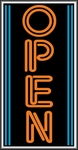 Open Vertical Orange/Blue Lightbox Sign