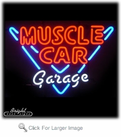 Neon Muscle Car Garage Sign
