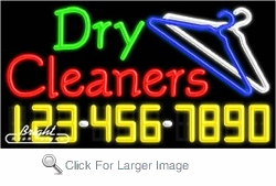 Dry Cleaners Neon w/Phone #
