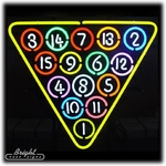 15 Ball Billiard Ball Rack Neon Sign