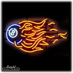 Flaming 8 Ball Neon Sign