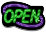 Deco Style Purple & Green Neon Open Sign
