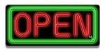 Small Rectangle Green & Red Neon Open Sign