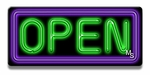 Small Rectangle Purple & Green Neon Open Sign