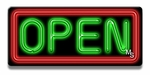 Small Rectangle Red & Green Neon Open Sign