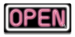 Small Rectangle White & Pink Neon Open Sign