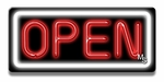 Small Rectangle White & Red Neon Open Sign