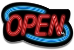 Deco Style Blue & Red Neon Open Sign