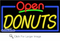 Donuts Open Neon Sign