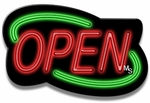 Deco Style Green & Red Neon Open Sign