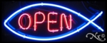 Neon Christian Fish Open Sign