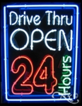 Neon Open 24 Hours Drive Thru Sign