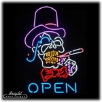 Smokin' Skull Neon Open Sign