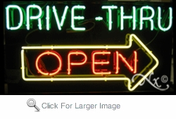 Neon Drive Thru Arrow Open Sign