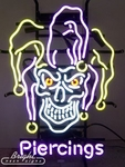 Jester Skull Piercings Neon Sign