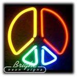 Peace Symbol Neon Sculpture