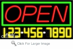 Open Closed Neon w/Phone #