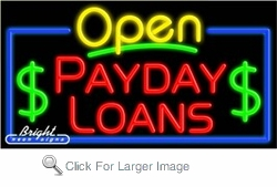 Payday Loans Open Neon Sign