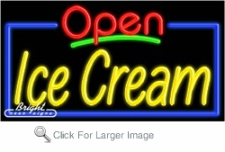 Ice Cream Open Neon Sign