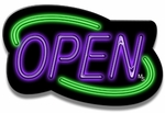 Deco Style Green & Purple Neon Open Sign