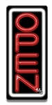 Vertical White & Red Neon Open Sign