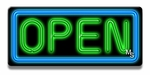 Small Rectangle Blue & Green Neon Open Sign