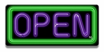 Small Rectangle Green & Purple Neon Open Sign