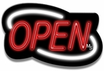 Deco Style White & Red Neon Open Sign