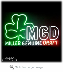 MGD Neon Sign with Shamrock