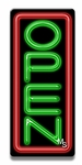 Vertical Red & Green Neon Open Sign