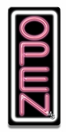 Vertical White & Pink Neon Open Sign