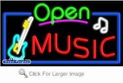 Music Open Neon Sign