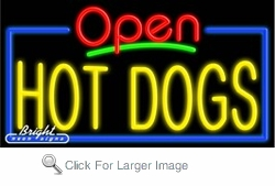 Hot Dogs Open Neon Sign
