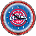 Detroit Pistons NBA Neon Clock