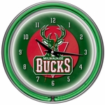 Milwaukee Bucks NBA Neon Clock