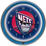 New Jersey Nets NBA Neon Clock