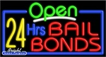 24 Hrs Bail Bonds Open Neon Sign