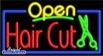 Hair Cut Open Neon Sign