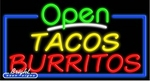 Tacos Burritos Open Neon Sign