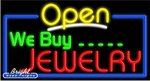 We Buy Jewelry Open Neon Sign