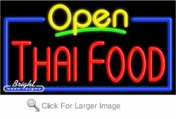Thai Food Open Neon Sign