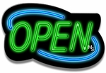 Deco Style Blue & Green Neon Open Sign