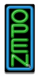 Vertical Blue & Green Neon Open Sign
